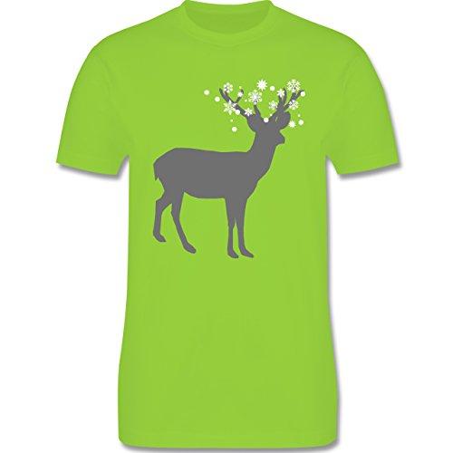 Weihnachten & Silvester - Rentier Schnee Eiskristalle - Herren Premium T-Shirt Hellgrün