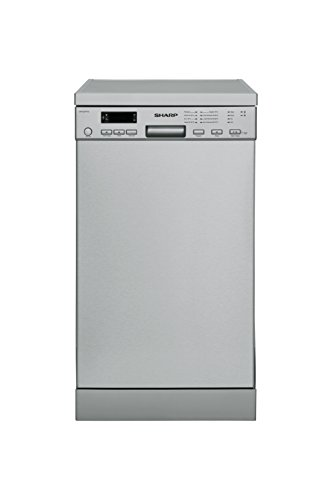 Sharp QW-S22F472I-DE Geschirrspüler Freistehend / A++ / 45 cm / Edelstahl / 8 Programme / Intelliwash / Microban Filter / Aquastop (Sharp Edelstahl)