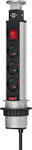 Brennenstuhl Bloc multiprise escamotable & encastrable avec interrupteur, socle 3 prises avec câble H05VV-F 3G1,5 (1,5 m), alu/noir, Quantité : 1