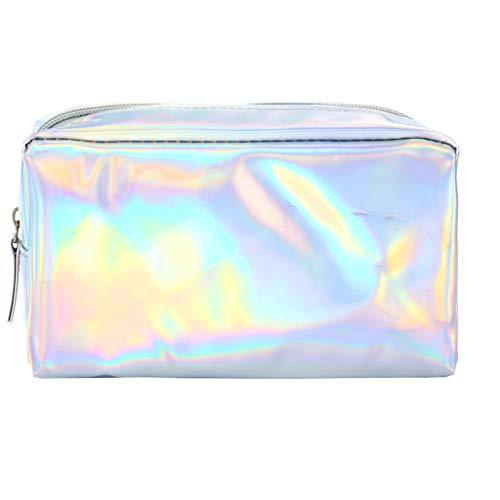 Gaddrt Pencil Case Bunte bunte Reißverschluss Leder Handtasche Kosmetiktasche Kosmetiktasche Handytasche Federmäppchen (Silver)