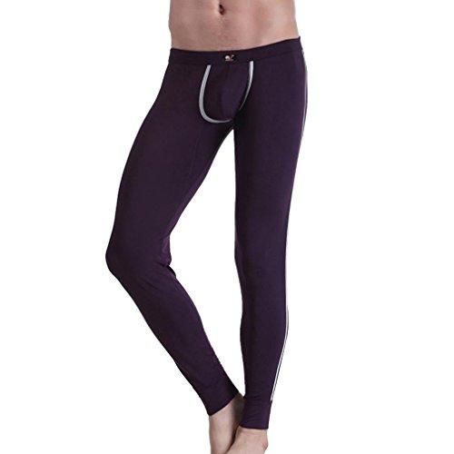 Honghu Herren Classics Midweight Thermounterwäsche Unterhosen Größe S Violett (Midweight Thermal Pant)