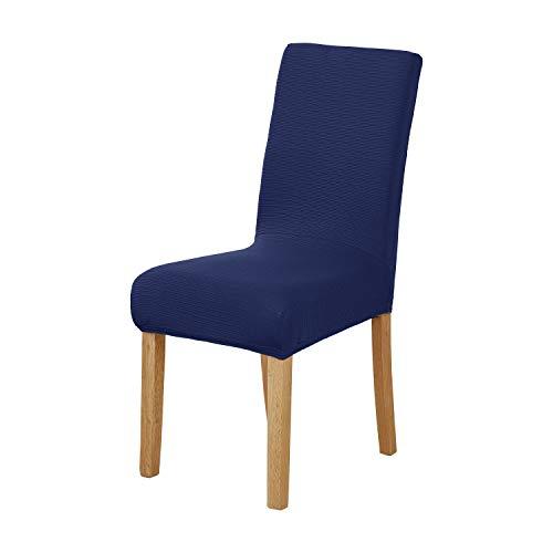 Deconovo Strechy Gestrickte Stuhlhussen Spandex Stuhl Schonbezug für Wohnzimmer Marineblau - 4 Parson Stühle