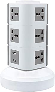 Universal Vertical Multi Socket 220V Electrical Tower Extension Outlet with USB Ports 3M Cord and UK-Plug Powe