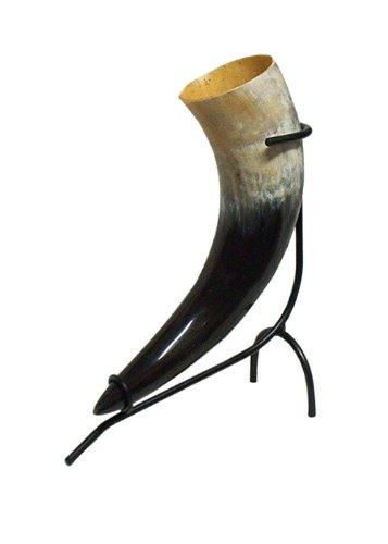Battle-Merchant Trinkhornständer, schwarz lackiert, groß, für EIN 0,5l - 1,0l Trinkhorn - Ständer Methorn Halter Trinkhornhalter -
