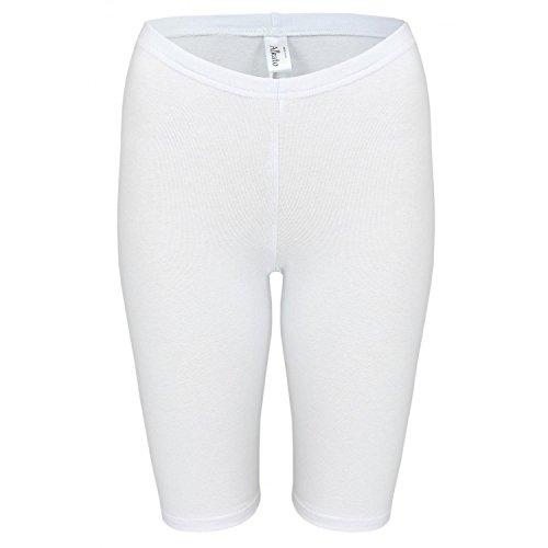 Alkato Damen Leggings 1/2 Kurz Radlerhose Baumwolle, Farbe: Weiß, Größe: 42