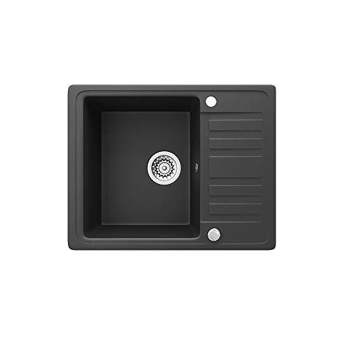 Spüle Granit Verbundspüle Küchenspüle Einbauspüle Auflage 575 x 460 mm eckig kleine Ablage Spülbecken + Drehexcenter + Siphon (Schwarz (601))