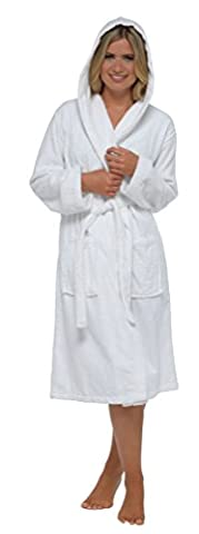 Ladies Robe Luxury Terry Towelling 100% Cotton Dressing Gown Bathrobe Perfect Christmas Gift, Insignia White Hooded, Large