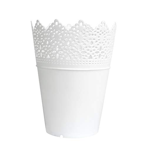 bigboba 1Blumentopf Modern Einfache Hohl Kunststoff Sukkulenten Vase Farbe Simulation Pflanze Blumenarrangement getopft, plastik, weiß, 14*10*7cm