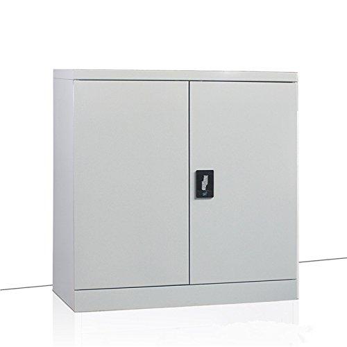 MMT Furniture Designs Grey Steel 2 Door Bookcase Filing cabinet unit, 2 lockable doors - 900mm - professional grade - 400mm deep - 1 internal adjustable shelf