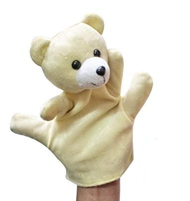 Kuhu Creations® Supreme Imagination Stories Puppet. (MHP Bear Cream)