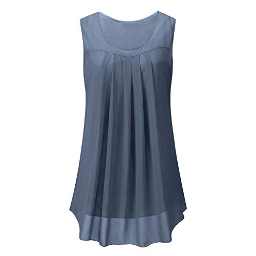 IMJONO Sommer Herbst Casual Frauen Sleeveless Chiffon Feste Weste Bluse Tank Tops Camis Kleidung(Grau,Medium)
