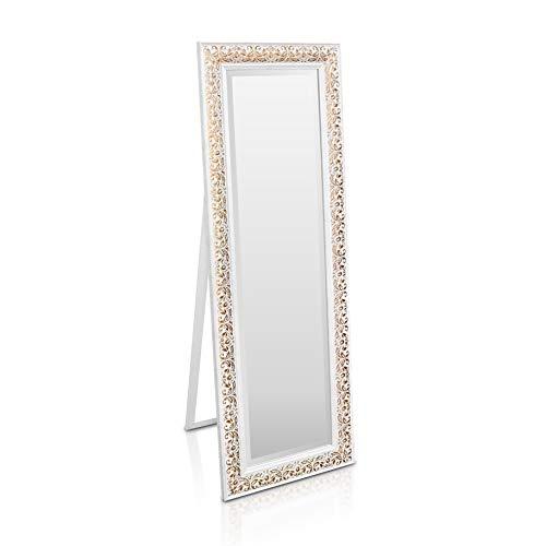 Shabby Chic Wandspiegel - 130 x 45 cm - Großer französischer Standspiegel im Vintage Stil - Antik Weiß und Gold