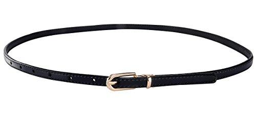 Aivtalk Damen Schmaler PU Leder Gürtel Mode Hüftgürtel Belt Dünn Taillengürtel für Jeans Kleid (Schwarz-leder-kleid-gürtel)