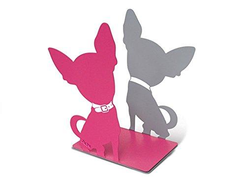 Serre Livres Chien Chihuahua en métal couleur rose et gris
