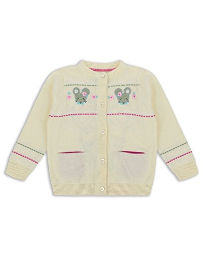 The Essential One - Baby Kids Girls Cardigan - Ellie Mouse - 18-24 Months - Cream - EOT325