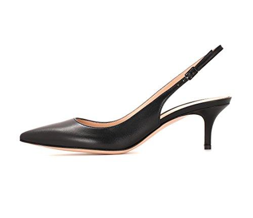 EDEFS Escarpins Bride Arriere Femme,Stiletto Chaussures Mariage Escarpin Black