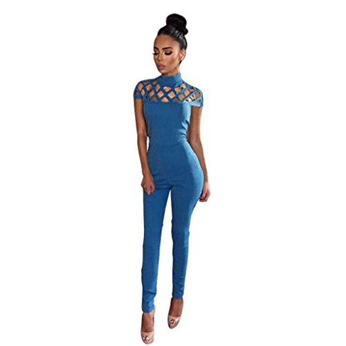 Switchali Damen sexy High Neck Baumwollmischung- Partei-Overall-Spielanzug,Overall (M, Blau) (Braun Superman Kostüm)