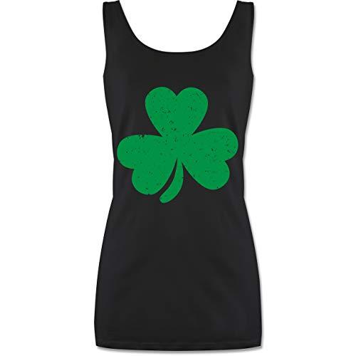 St. Patricks Day - Kleeblatt für St. Patricks Day - XL - Schwarz - P72 - lang-geschnittenes Tanktop für Damen (St Patrick's Day Kostüm Ideen)