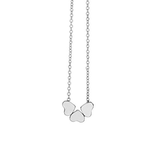 Ba Zha Hei Drei Liebe Herz Halskette Kompakt Herz Halskette Klavikulärkette Schönheits-Charme-Frauen-Edelstahl-drei Herz-hängende Ketten-Halskette für Frauen Mädchen (Silber)