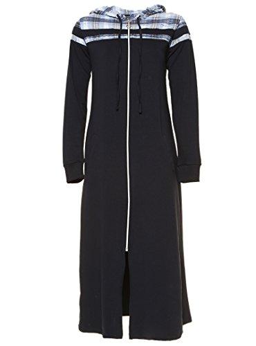 Benin Damen Mantel Reißverschluss Kapuze Kordelzug Muster Einsatz Jacke