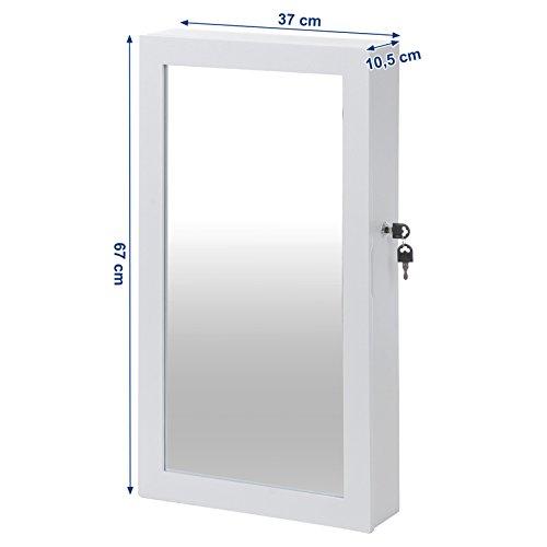 Songmics Hängend Schmuckschrank Wandspiegel zum Hängen mit Tür und Magnetverschluss weiß JBC51W - 3
