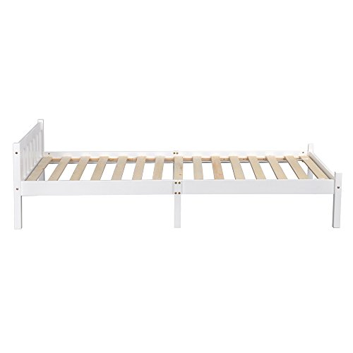 Lillyarn Single Bed Base 3ft Wooden Bed Frame White