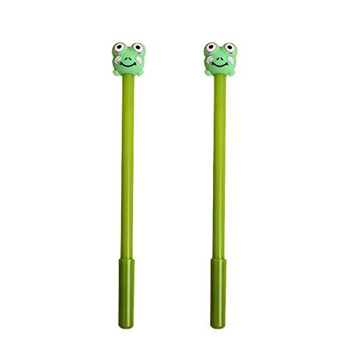 Lot de 2 stylos à bille à capuchon pour étudiants, motif animal de dessin animé mignon - Encre noire 0,5 mm - Cochon S grenouille