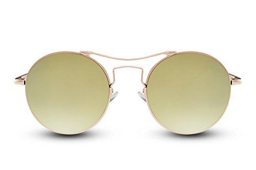 Cheapass Sonnenbrillen Rund Gold Grün-Gelb Verspiegelt UV-400 Festival-Accessoire Designer-Brille Metall Damen Herren