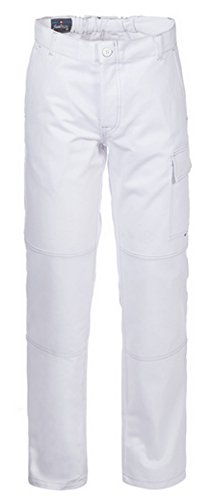 Pantaloni Da Lavoro Gessista Imbianchino Muratore Cotone Robusto Bianco A00109 (L)