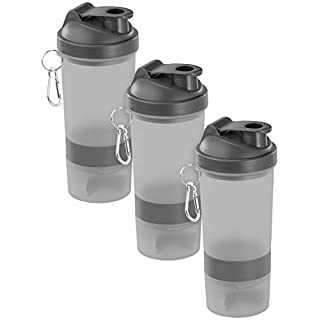 PEARL sports Schüttelbecher: 3er-Set Fitness-Drink-Shaker mit 2 Pulverkammern & Mischball, 500 ml (Becher für Fitness Shakes)