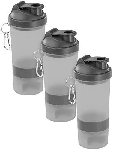 PEARL sports Schüttelbecher: 3er-Set Fitness-Drink-Shaker mit 2 Pulverkammern & Mischball, 500 ml (Eiweiß Shaker Mixer)