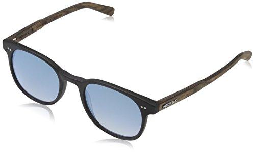 Wood Fellas Unisex Sonnenbrille Schwabing, Schwarz (Black/mirr. Blue 5110), (Herstellergröße: one...