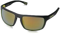 BOSS by Hugo Boss Mens B0800S Rectangular Sunglasses, Rubber Black Yellow/Brown Yellow Polarized, 58 mm
