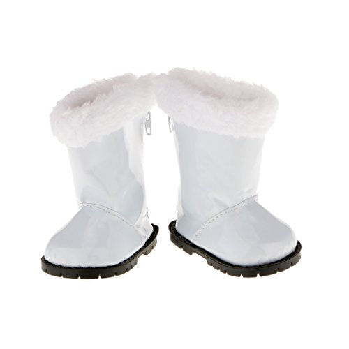 Kostüm 18 Für Puppen - P Prettyia Mode Puppen Schuhe, Winterstiefel, Stiefel Für 18 Zoll Puppen Winter Kostüm Zubehör - Weiß 02, 8.5 x7.2cm