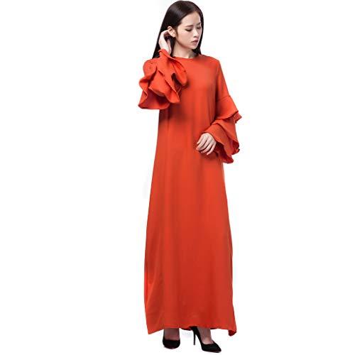QHJ Frauen Loser Normallack Muslimische Muslimische Kleidung Hijab Kleider Gebet Kleidung Muslim Länge Dress Sets Stil Arab (Orange, L) (Gebet Schal Orange)