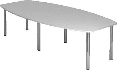 Konferenztisch für 10 Personen, mit 6 Chromfüßen/KT28C/5 Grau