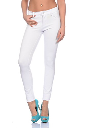 Modische Damen Jeggings Leggings Hüfthose Stretch Slimfit ,bequem (XS / 34, Weiß) (Stretch Hose Damen)