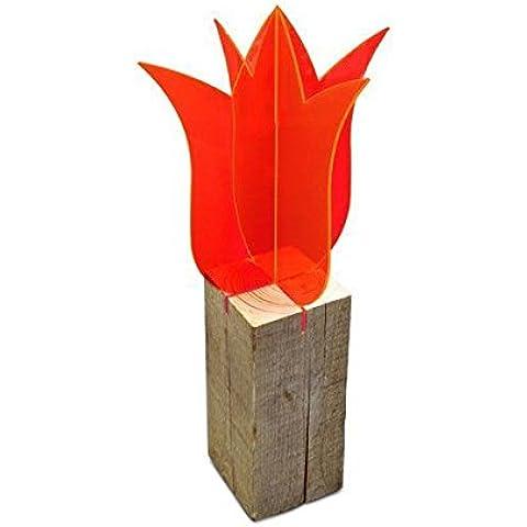 Elliot - 2 piezas - lichtzauber - suncatcher 1.023.043, 3d tulipán, 30 cm, de pie, de color rojo, sin holzfuss