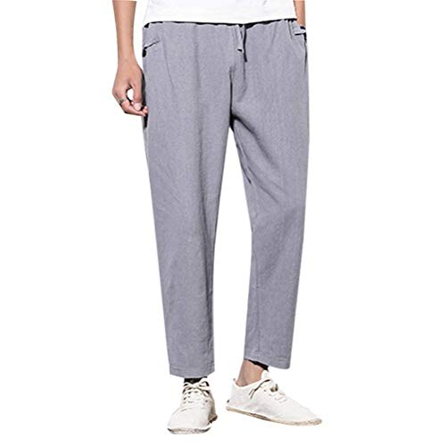 "Herren Hosen Männer Nner Casual Fashion Gedruckt York Brief New Jogging Kordelzug Jungen Trousers Pants (Color : Grau, Size : Waist 28""-34\"")"