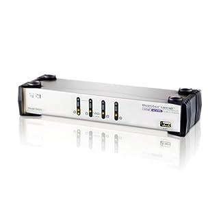 ATEN CS1744 Commutateur KVM VGA Dual View USB à 4 Ports avec Audio + concentrateur USB 2.0 + câble KVM