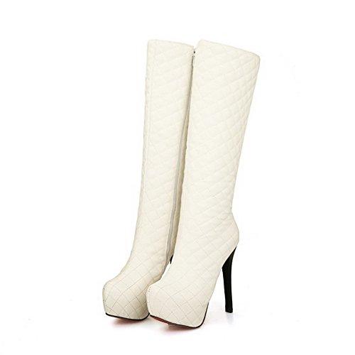 AgooLar Damen Weiches Material Rund Zehe Rein Hoch-Spitze Hoher Absatz Stiefel Weiß