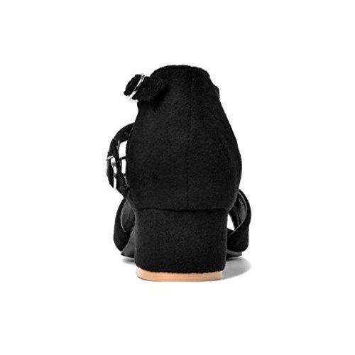 COOLCEPT Damen Mode T-Spangen Sandalen Blockabsatz Peep Toe Schuhe Schwarz
