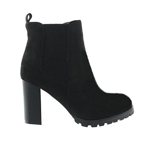 King Of Shoes Damen Stiefeletten Ankle Boots Plateau Stiefel Schuhe 7 (40, Schwarz) (High Heel-schuhe Braune)