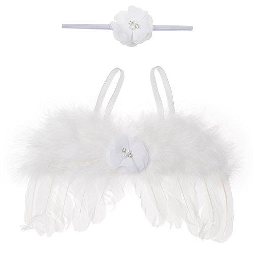 Baby Engel Kostüm Fotoshooting Fotos Weihnachten Engelsflügel Federn +Stirnband (Kostüm Für Baby Engel)