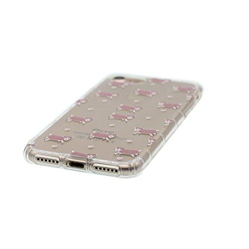 Custodia iPhone 7 Plus, Silicone trasparente iPhone 7 Plus copertura Shell Protezione molle sottile del silicone TPU Cover Case Per iPhone 7 Plus 5.5 / hamburger fragola Color - 7