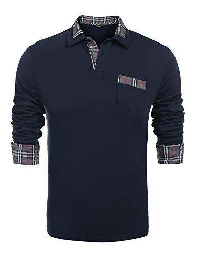 Coofandy Herren Poloshirt Langarm Einfarbig Freizeit Polo Kragen Plaid spleißen Polohemd, L, Dunkel Blau
