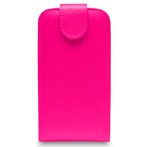 Apple iPhone 4S/4 - Leder Flip Hülle Tasche + 2 in 1 Stylus Pen + Screen Protector & Poliertuch ( Black ) Hot Pink