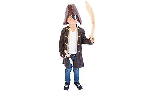 Piraten-Kostüm Kapitän für Kinder, jungen und mädchen Größe 140 braun - hochwertiger Captain Piraten-Mantel mit Piraten-Hemd - einmalige Verkleidung für Fasching, Karneval und Kindergeburtstag