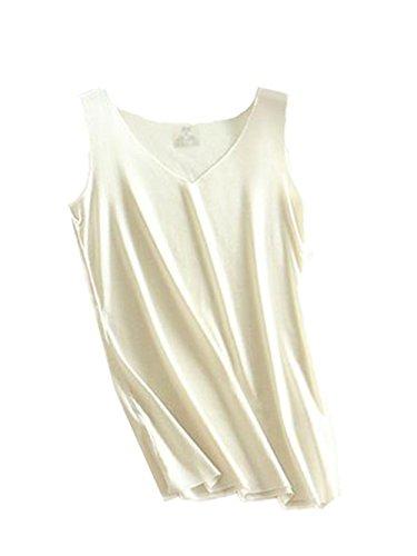 Haililais Sottile Bretelle Donna Morbidi Senza Maniche Maglietta Spalle Scoperte Blusa Sexy Elegante Camicetta Bluse Tinta Unita Canotta White1