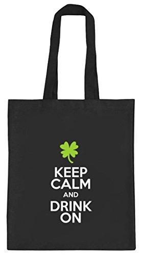 Saint Patrick's Day St.Patricks Day natur Jutebeutel Stoffbeutel Keep Calm And Drink On schwarz natur